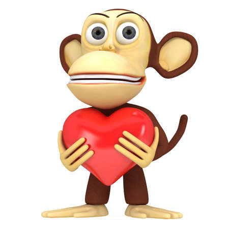 heart 3d: 3d funny monkey with red heart. 3D render isolated on white.