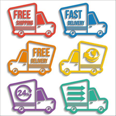 無料配信、速い配達、白い背景上のブレンドの影で設定 24 カラフルなアイコンを世界中送料無料します。ベクトル配信サービス コンセプト