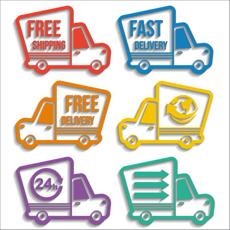 Free delivery, fast delivery, free shipping, around the world, around the clock colorful icons set with blend shadows on white background. Vector delivery service concept Иллюстрация