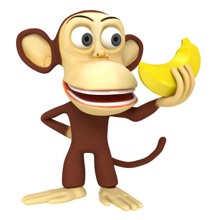 3d funny monkey with banana. 3D render isolated on white. Stock Photo