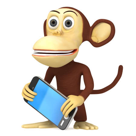 baboon: 3d funny monkey with detailed modern smart phone. 3D render isolated on white.