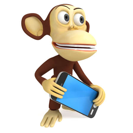 respond: 3d funny monkey with detailed modern smart phone. 3D render isolated on white.