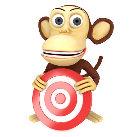 perfect skin: 3d funny monkey with red aim target. 3D render isolated on white. Goal, luck, strategy, game, business concept.