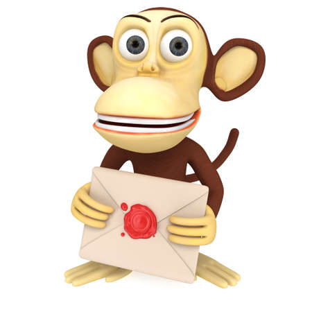 3d funny monkey hold envelope with red wax seal. 3D render isolated on white. Stock Photo