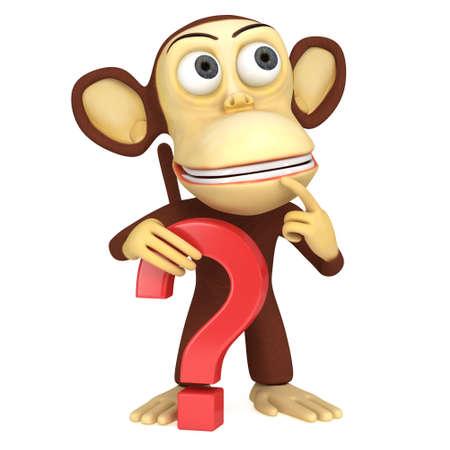 3d grappige aap met rood vraagteken. 3D render op wit wordt geïsoleerd. Stockfoto