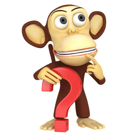 3d funny monkey with red question mark. 3D render isolated on white.