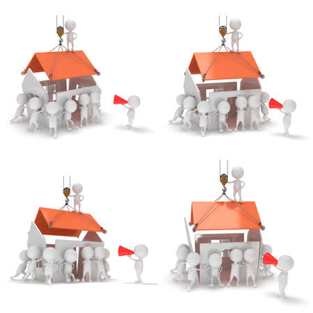 constructing: 3D construction guys building a house. 3D render isolated on white background.