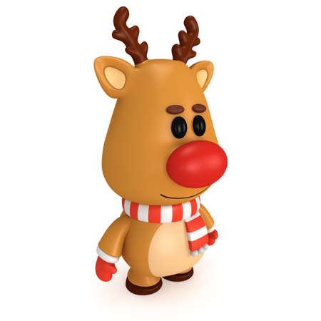 nariz roja: Ciervos de la Navidad con la nariz roja bufanda desgaste y mitones. Procesamiento 3D aislado en blanco. Navidad y a�o nuevo concepto. Foto de archivo
