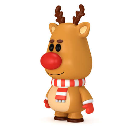red nose: Christmas deer with red nose wear scarf and mittens. 3D render isolated on white. Xmas and new year concept.