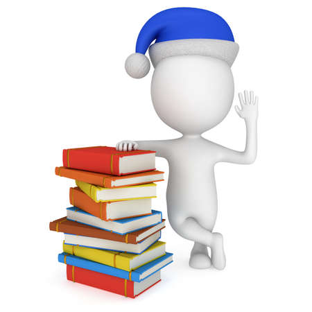hi hat: 3d white man in santa claus cap stand near pile of books. 3D render isolated on white.