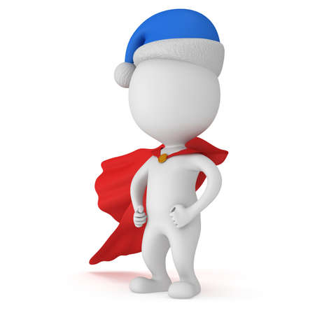 brave: 3d man - brave superhero with arms akimbo wear red cloak and blue santa claus hat. Isolated on white background.