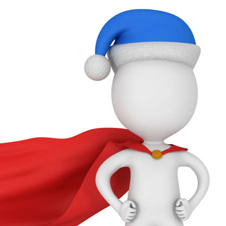 cape: 3d man - brave superhero with arms akimbo wear red cloak and blue santa claus hat. Isolated on white background.