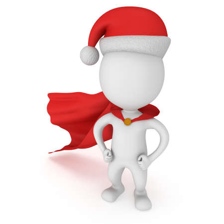 arms akimbo: 3d man - brave superhero with arms akimbo wear red cloak and santa claus hat. Isolated on white background.
