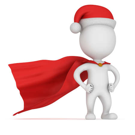 3d man - brave superhero with arms akimbo wear red cloak and santa claus hat. Isolated on white background.