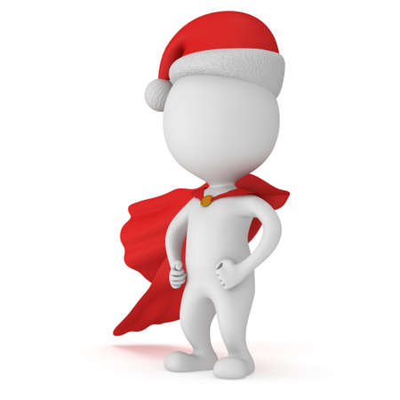 brave: 3d man - brave superhero with arms akimbo wear red cloak and santa claus hat. Isolated on white background.