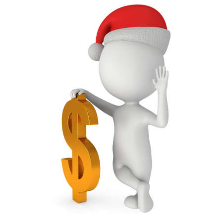 hi hat: 3d white man in santa claus cap stand near dollar sign. 3D render isolated on white. Stock Photo