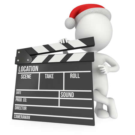 hollywood christmas: Santa with cinema clapperboard. 3D render isolated on white. Christmas movies, films and TV broadcast