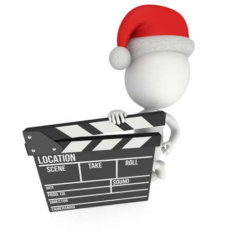 christmas movies: Santa with cinema clapperboard. 3D render isolated on white. Christmas movies, films and TV broadcast