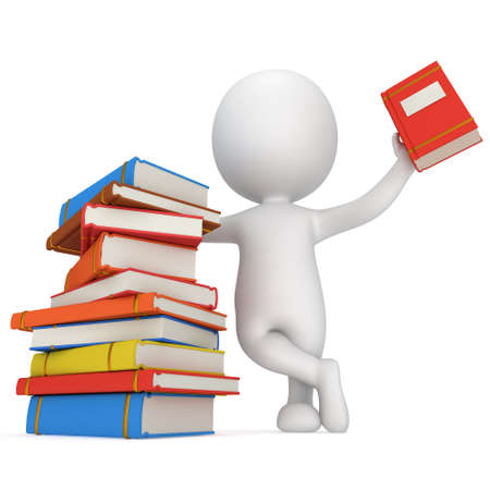 3d white people. Man with piles of books. Isolated white background. Standard-Bild