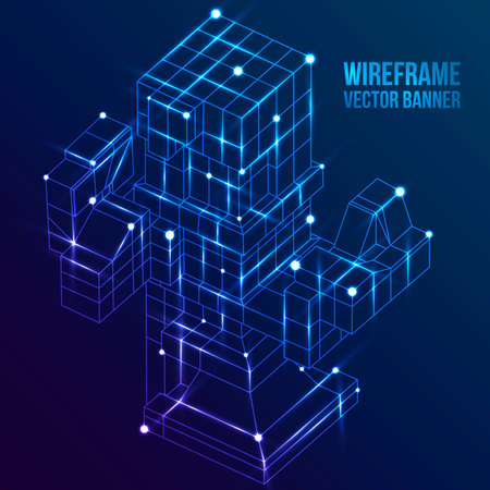 visualization: Wireframe Mesh Cubes. Connected dots and lines. Connection Structure. Digital Data Visualization Concept. Vector Illustration.