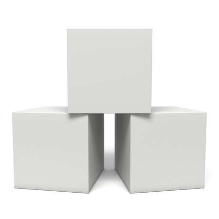 White boxes isolated on white background. Transportation concept