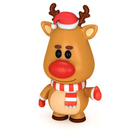 red nose: Christmas deer with red nose wear scarf santa claus hat and mittens. 3D render isolated on white. Xmas and new year concept. Stock Photo