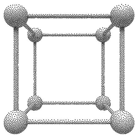 digital data: Wireframe Mesh Dotwork Cube. Connected Spheres. Halftone Connection Structure. Engraving Vector Illustration. Digital Data Visualization Concept
