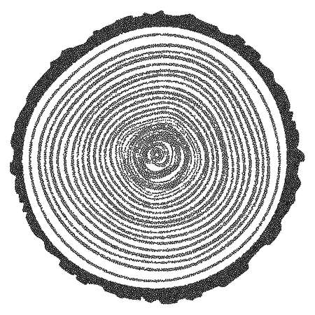 Dotwork Halftone Tree Rings Background.Engraving Vector Illustration.  Saw Cut Tree Trunk.