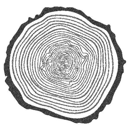 rings on a tree cut: Dotwork Halftone Tree Rings Background.Engraving Vector Illustration.  Saw Cut Tree Trunk.