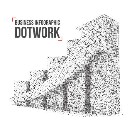 growing up: Dotwork Halftone 3D Bar Graph Chart with Arrow Growing Up. Engraving Vector Illustration. Business and statistic concept. Illustration