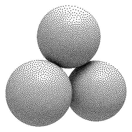 Dotwork Halftone 3D Spheres. Engraving Vector Illustration. Vintage Engraved Balls Illustration