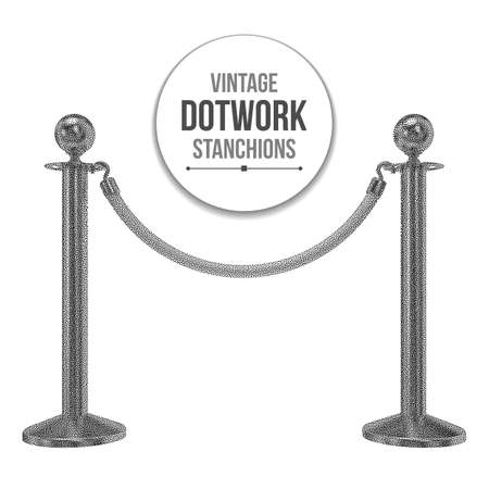 vip area: Dotwork Halftone 3D Stanchions with Rope. Engraving Vector Illustration. Barrier, enclosed VIP area, Protected Enterance, Private Event, Luxury Gala Concept. Illustration
