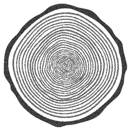 plywood: Dotwork Halftone Tree Rings Background.Engraving Vector Illustration.  Saw Cut Tree Trunk.