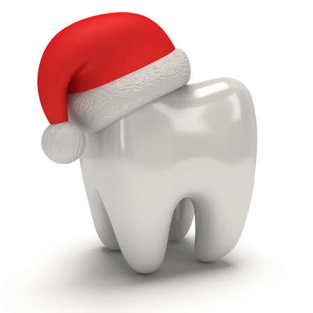 Tooth Wearing Santa Claus Hat. 3D Illustration render isolated on white background. Healthcare Dental and Christmas concept
