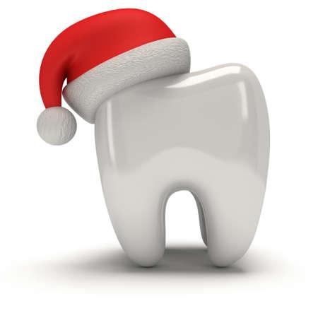 Tand die de Hoed van de Kerstman draagt. 3D illustratie geeft geïsoleerd op witte achtergrond. Gezondheidszorg Tand en Kerstmis concept