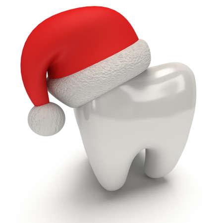 산타 클로스 모자를 쓰고 치아. 3D 일러스트 레이 션 흰색 배경에 고립 된 렌더링. 건강 치과 및 크리스마스 개념
