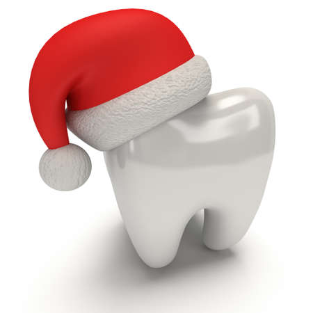 Tand dragen Santa Claus hoed. 3D illustratie render op een witte achtergrond. Gezondheidszorg Dental en Kerstmis concept Stockfoto