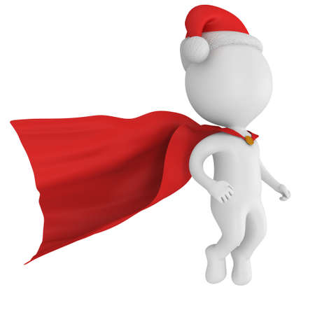 pathetic: Santa Claus Brave Superhero with Red Cloak Flying. Isolated on white 3d render.