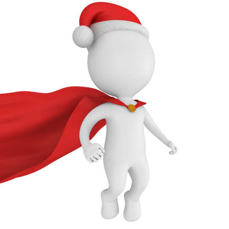 cloak: Santa Claus Brave Superhero with Red Cloak Flying. Isolated on white 3d render.