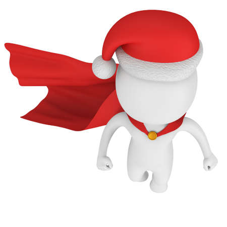 Santa Claus Brave Superhero with Red Cloak Flying. Isolated on white 3d render.