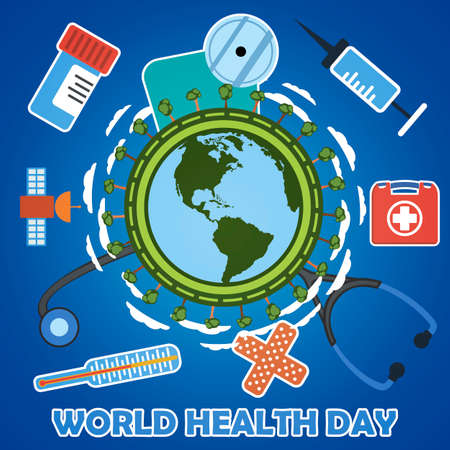 medicate: World health day concept with earth globe. First aid kit, medicine and healthcare concept. Flat illustration with icons.
