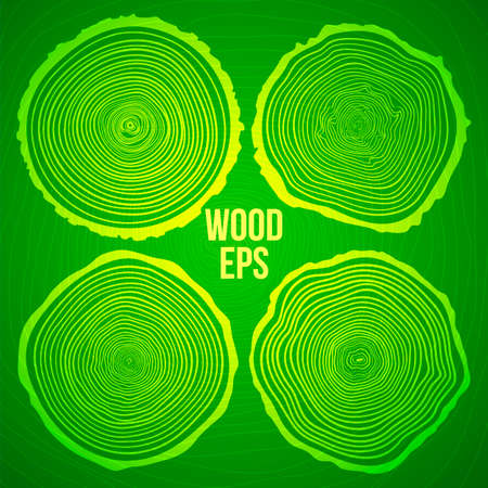 plywood: Set of four vector tree rings background and saw cut tree trunk. Conceptual graphics.