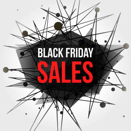 visualization: Black Friday Sales Banner with Dots and Lines. Connection Concept. Digital data visualization. Social network graphic concept. Geometric technology vector background.