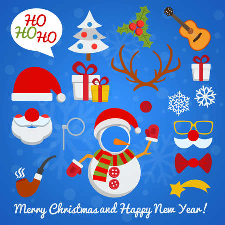 santa claus hats: Christmas photo booth and scrapbooking vector set with Santa Claus snowman deer etc