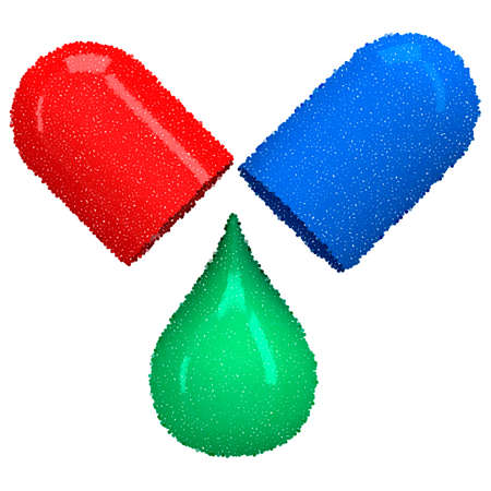 blue pills: Opened red blue pill capsule with green drop. Vector dotwork illustration. Pills, drugs, medicine, healthcare concept Illustration