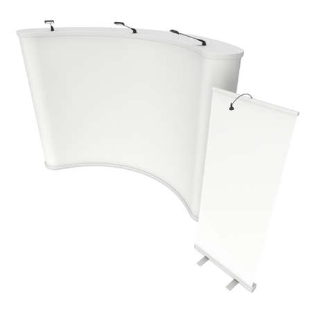 pop up: Roll Up and Pop Up Banner Stands. Trade show booth white and blank. 3d render isolated on white background. High Resolution Template for your design.