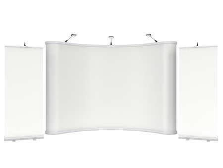 Roll Up en Pop Up Banner Stands. Beursstand wit en leeg. 3d render geïsoleerd op een witte achtergrond. Hoge Resolutie Template voor uw ontwerp.