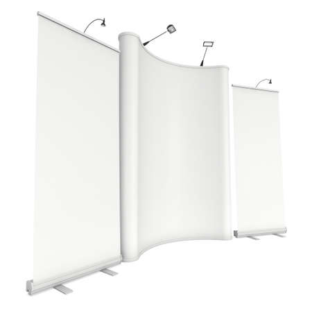 trade show: Roll Up and Pop Up Banner Stands. Trade show booth white and blank. 3d render isolated on white background. High Resolution Template for your design.