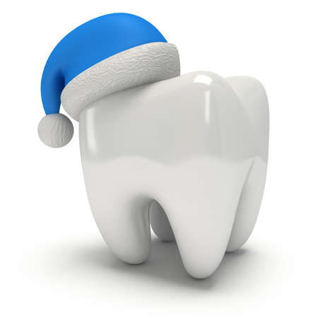 dental: Tooth Wearing Santa Claus Hat. 3D Illustration render isolated on white background. Healthcare Dental and Christmas concept