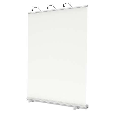 Blank Roll Up Banner Stand. Messestand weiß und leer. 3d isoliert auf weißem Hintergrund zu machen. Hohe Auflösung Vorlage für Ihr Design. Lizenzfreie Bilder